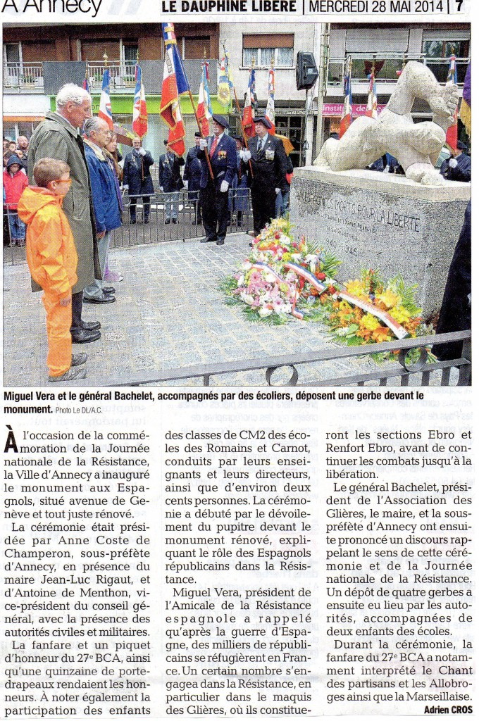 Inauguration du Monument aux Espagnols rénové le 27/05/2014 à Annecy (Haute-Savoie).