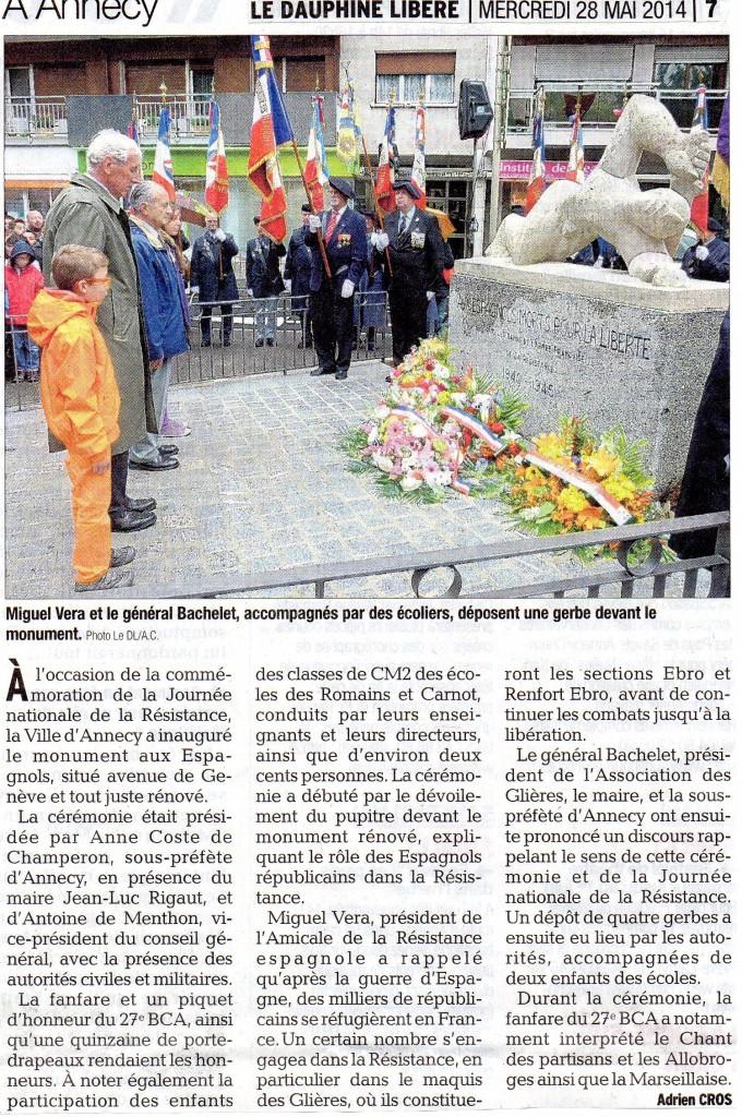 Article Dauphiné Inauguration Monument aux Espagnols