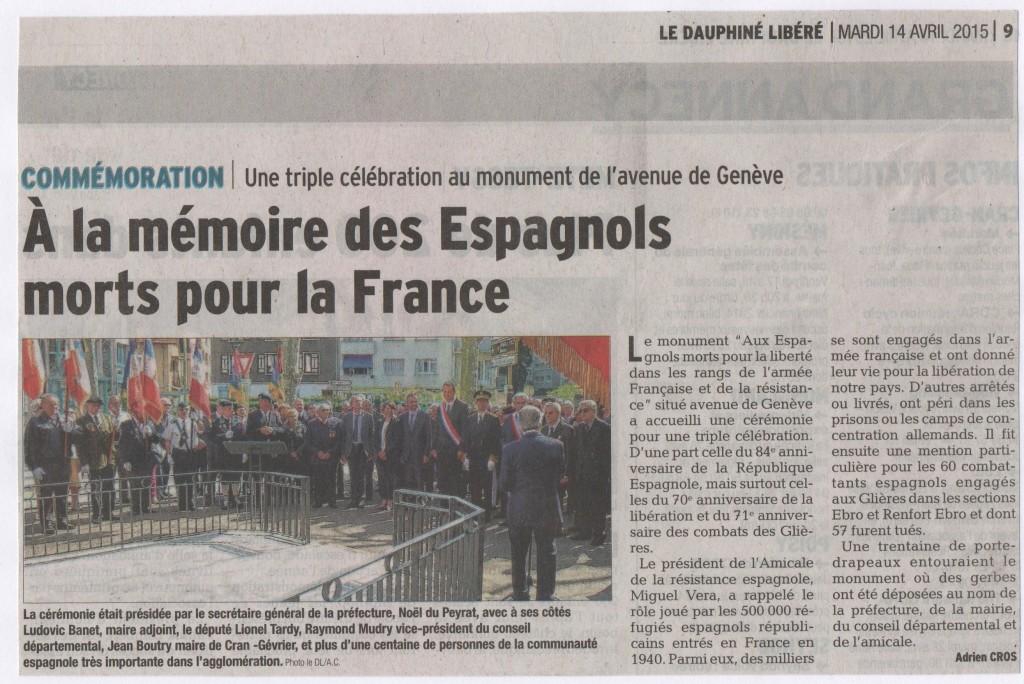 Cérémonie du 12 avril 2015. Article du Dauphiné Libéré. 001